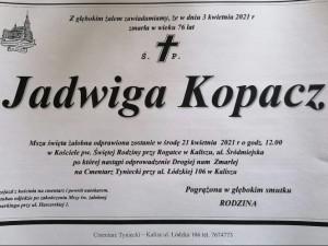 zmarła Jadwiga Kopacz
